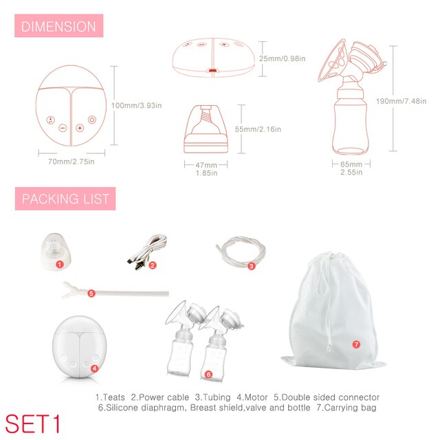 Electric breast pump unilateral and bilateral breast pump manual silicone breast pump baby breastfeeding accessories 8