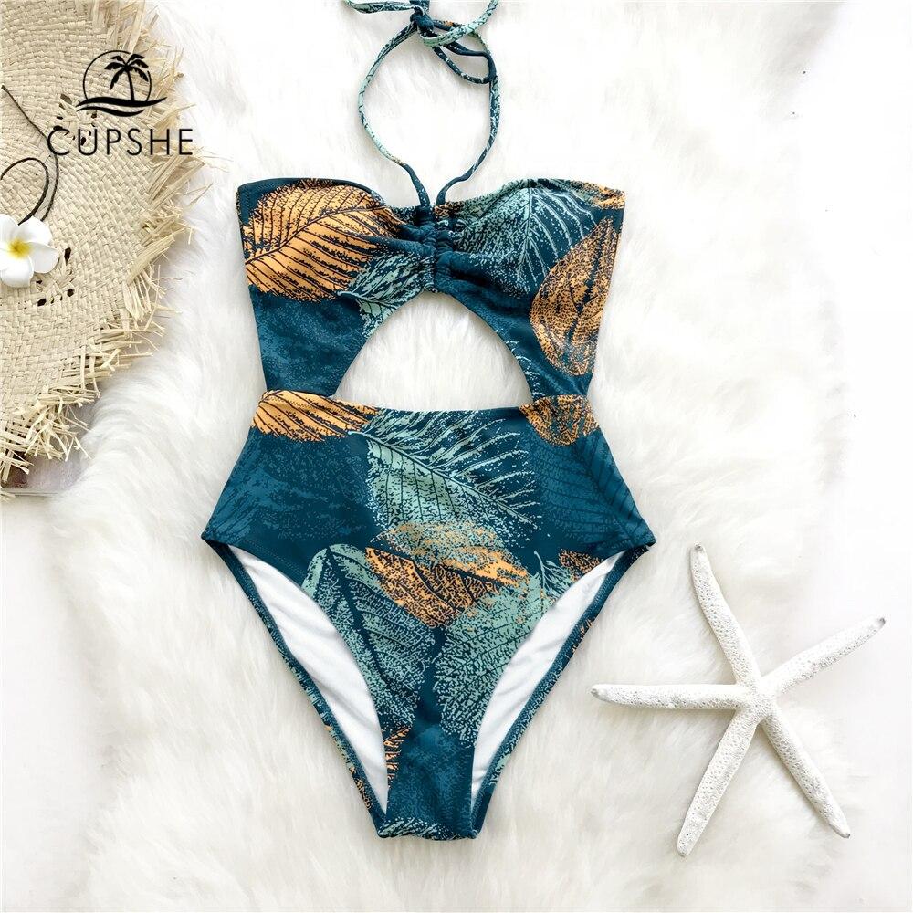 CUPSHE, bañador de una pieza con estampado de hojas verdes y doradas, Monokini sin espalda calado para mujer, bañador Sexy para chica 2020