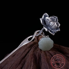 Amxiu Vintage 925 en argent Sterling épingle à cheveux pierre naturelle Lotus fleur bâtons de cheveux bijoux pour la fête des mères des femmes cadeau accessoires