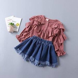 Girl set children clothing set kids cotton splice blouse+ Denim skirts princess 2 pc set summer baby girl clothes for 2-6T