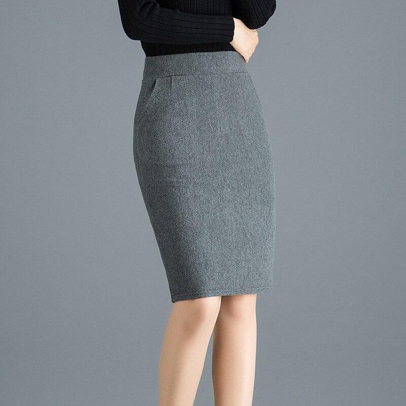 2020 Autumn&Winter Slim Woolen Pencil Skirts Womens Sexy Pocket Office High Waist Elastic Mini Skirt Plus Size Gray Black Skir