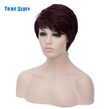 Uw Stijl Synthetische Korte Cut Krullend Kapsels Natuurlijke Afro Haar Pruiken Voor Vrouwen Bourgondië Zwart Bruin Rood Ombre