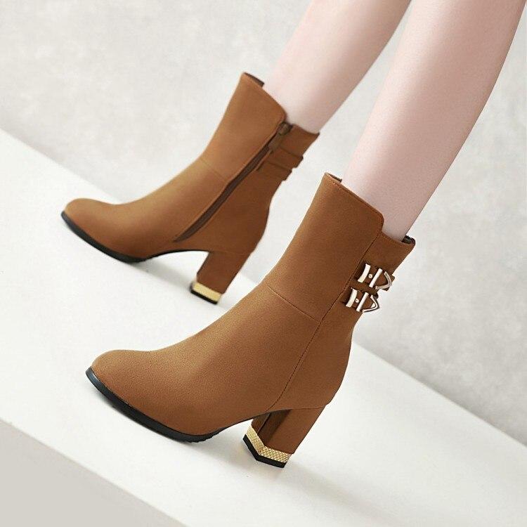 Tamanho grande estilo EuroAmerican roundheaded sapatos de salto grosso de salto alto zíper lateral botas curtas de metal decorativo