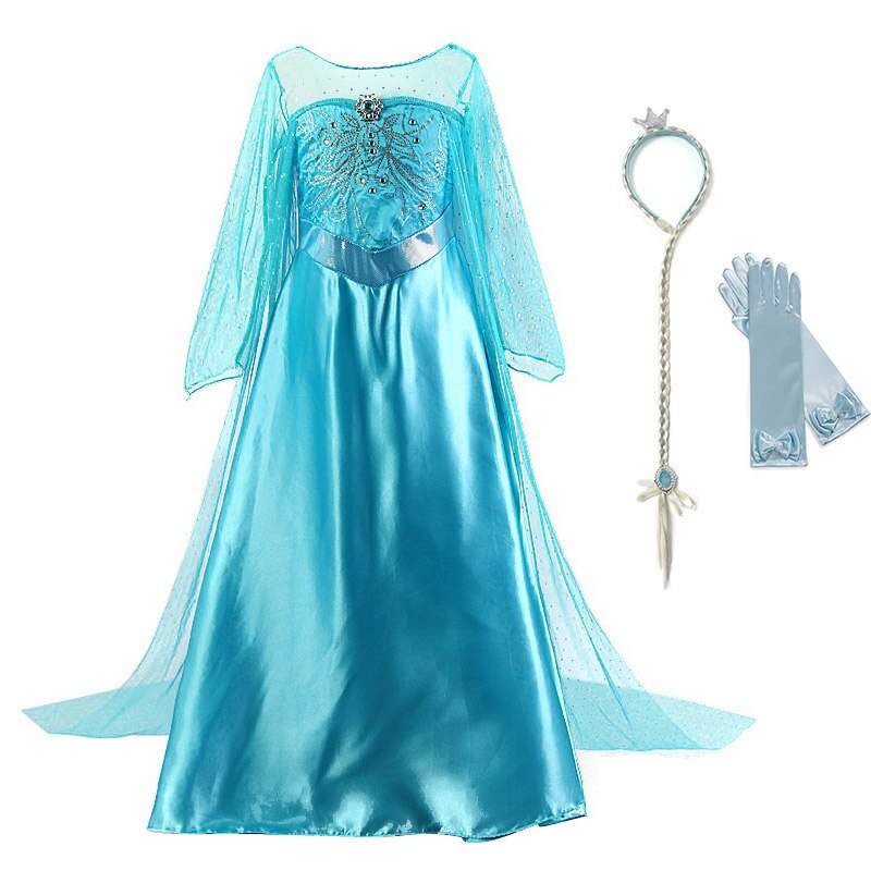 Girls Elsa Princess Dress up Cosplay Costume Child Snowflak Long Cloak Party Halloween Clothes Kids Snow Queen Crystal Dress
