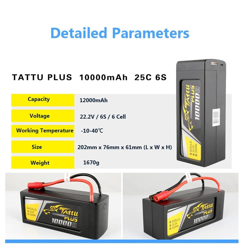 Batería Para Dron UAV Tattu Plus, 22,2 V, 25C, 6S, 10000mAh, con enchufe AS150 + XT150