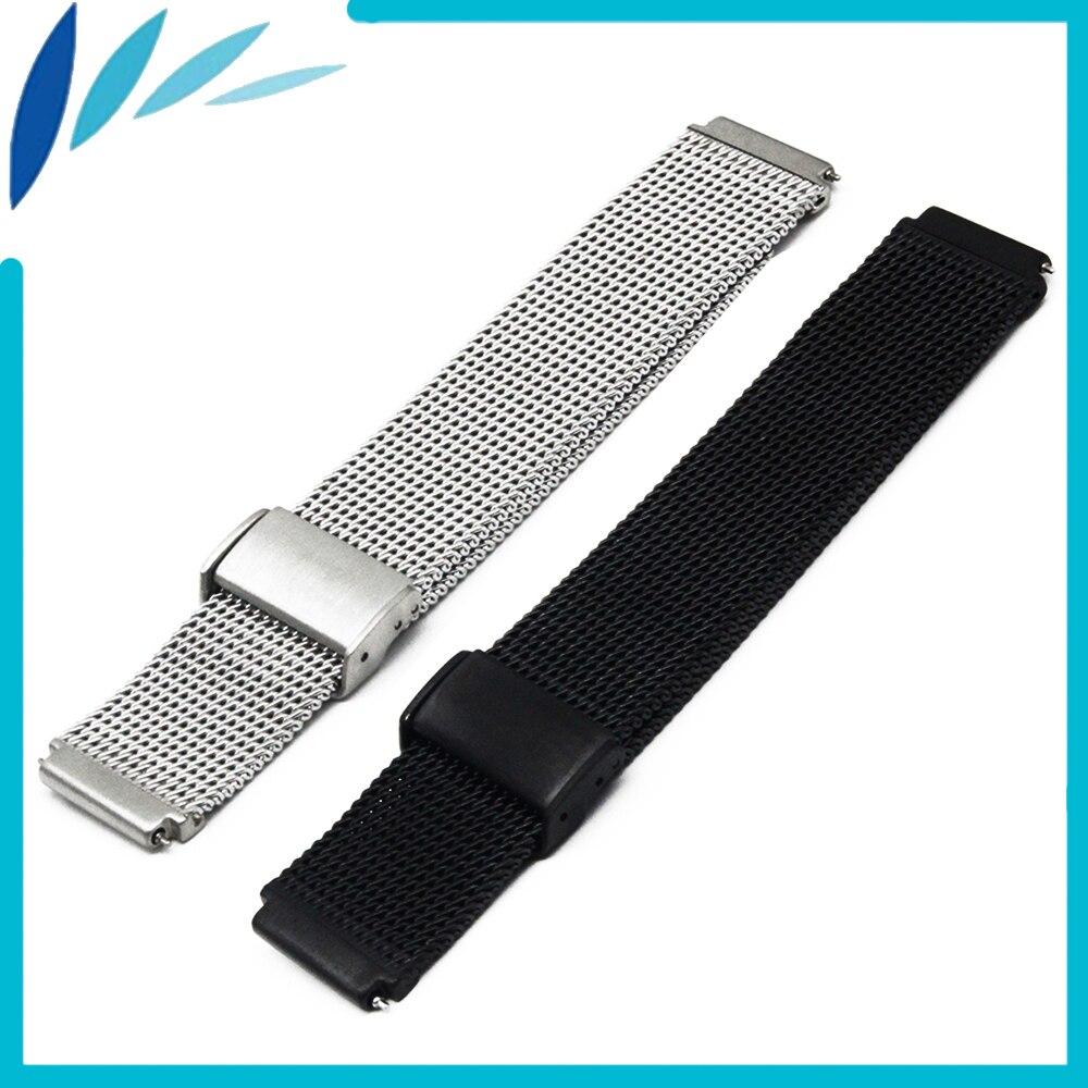 Faixa de Relógio de Aço inoxidável 18mm 22mm para MK Fecho Gancho Strap Quick Release Loop Correia de Pulso Pulseira Preta prata