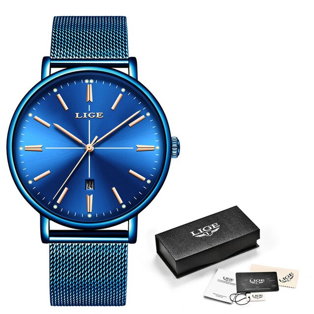 LIGE New Blue Watch Women Luxury Brand Fashion Dress Quartz Watch Ladies Full Steel Mesh Strap Waterproof Watch Relogio Feminino enlarge
