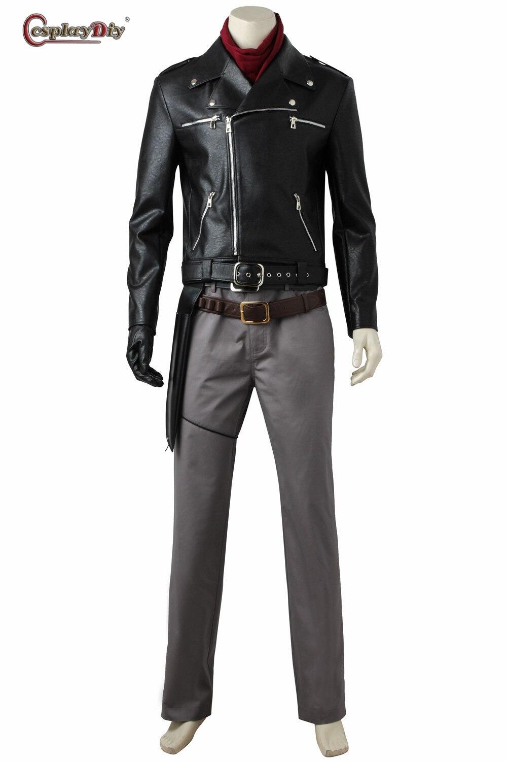 Jaqueta de cosplay masculina nikeric rick grimes, casaco preto com calças, fantasia de halloween