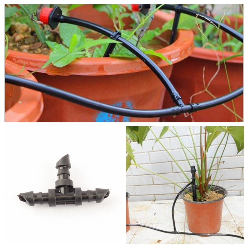 200pcs New Hose Barbed Tee Joints 4/7mm Drip Irrigation Pipe Tee Connectors Greenhouse Gardening Watering Kits Water Splitters