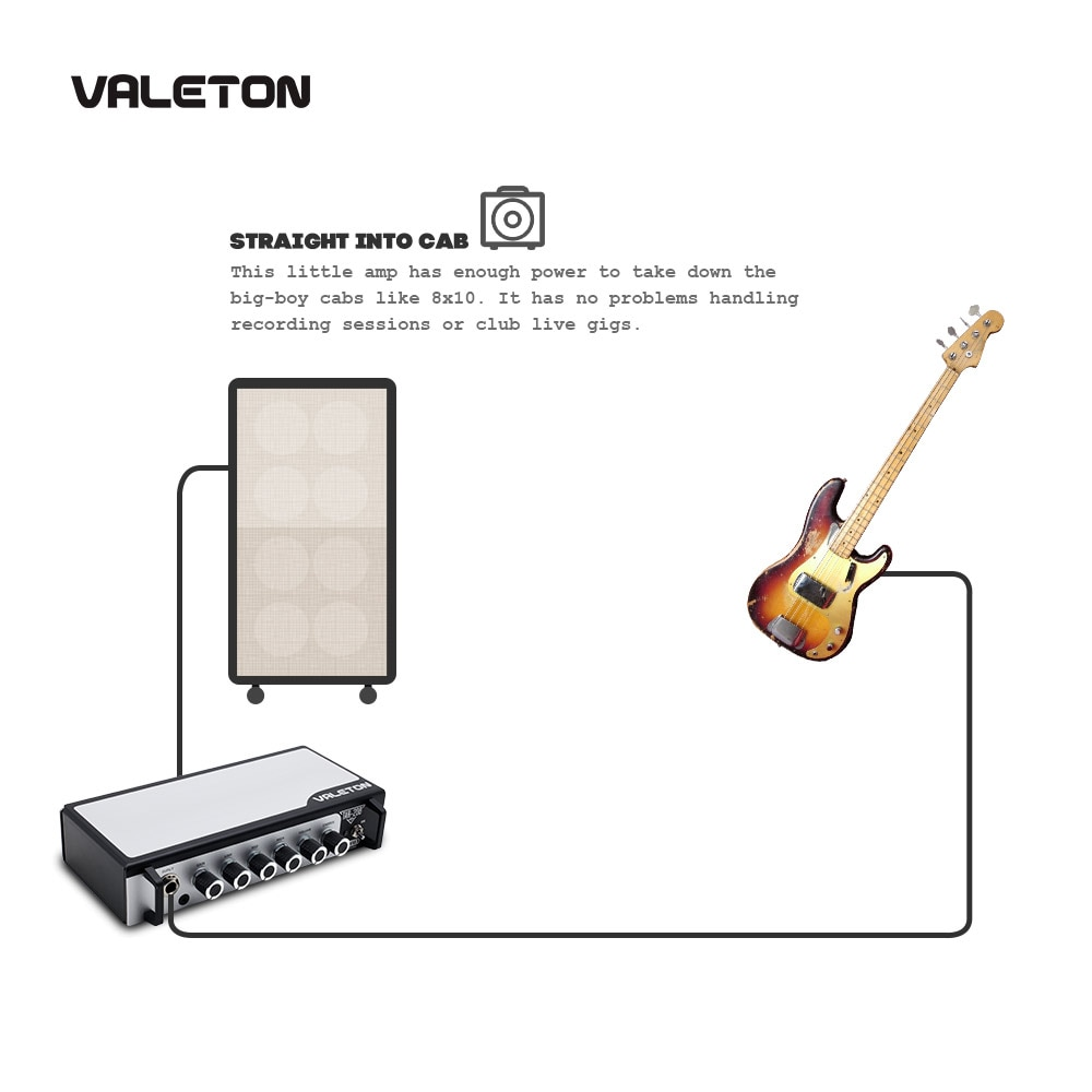 Valeton Bass Guitar Amp with Chorus Distortion Overdrive Asphalt Pedal Platform Amplifier Head with CAB SIM TAR-20B enlarge