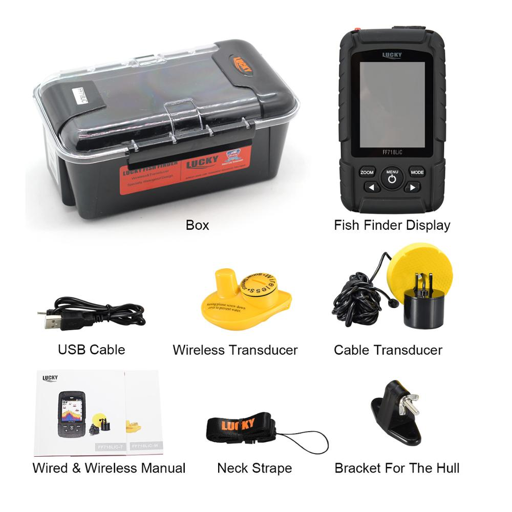 Lucky FF718LiC Real Waterproof Fish Finder Monitor 2-in-1 Wireless Sonar Wired Transducer echo sounder enlarge