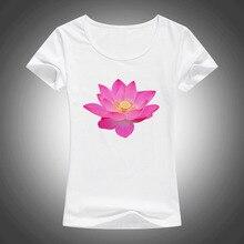 Camisas femininas 여름 패션 코 튼 t 셔츠 여성 피는 로터스 인쇄 된 o-넥 반팔 탑스 티 1902