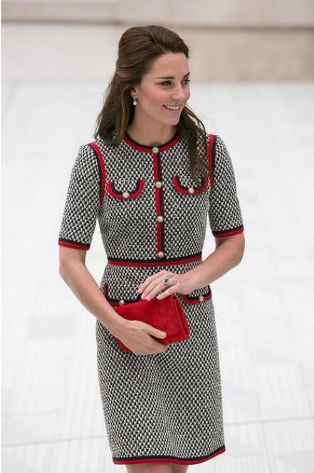 Kate Middleton Tweed Frauen Kleid Vestidos Dicken Faden Hahnentritt Patchwork Kleider Rundhals Kurzarm Dünnes Kleid Weibliche
