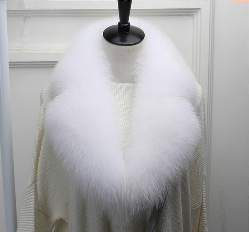Cuello falso de piel de zorro natural para mujer, traje grande de invierno, Cuello de piel para mujer, bufanda blanca a la moda S801