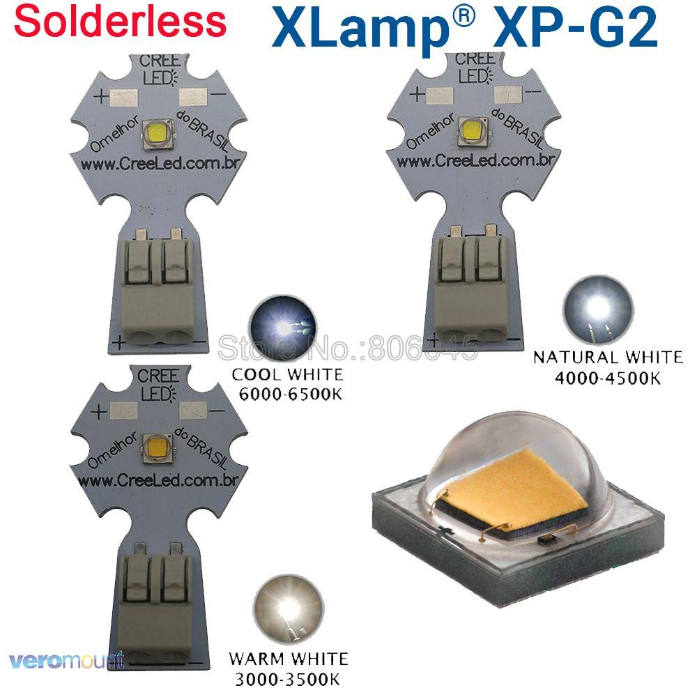 5x5 w Cree XPG2 XP-G2 Contas de Alta Potência LED Emissor de Diodo, branco fresco Branco Morno Branco Neutro em 20mm Solderless PCB Alumínio