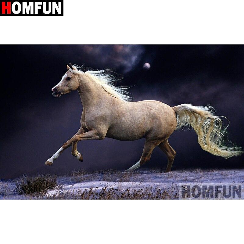 "HOMFUN cuadrado completo/taladro redondo 5D DIY diamante pintura ""Animal horse"" bordado punto de cruz 5D decoración del hogar a15275"