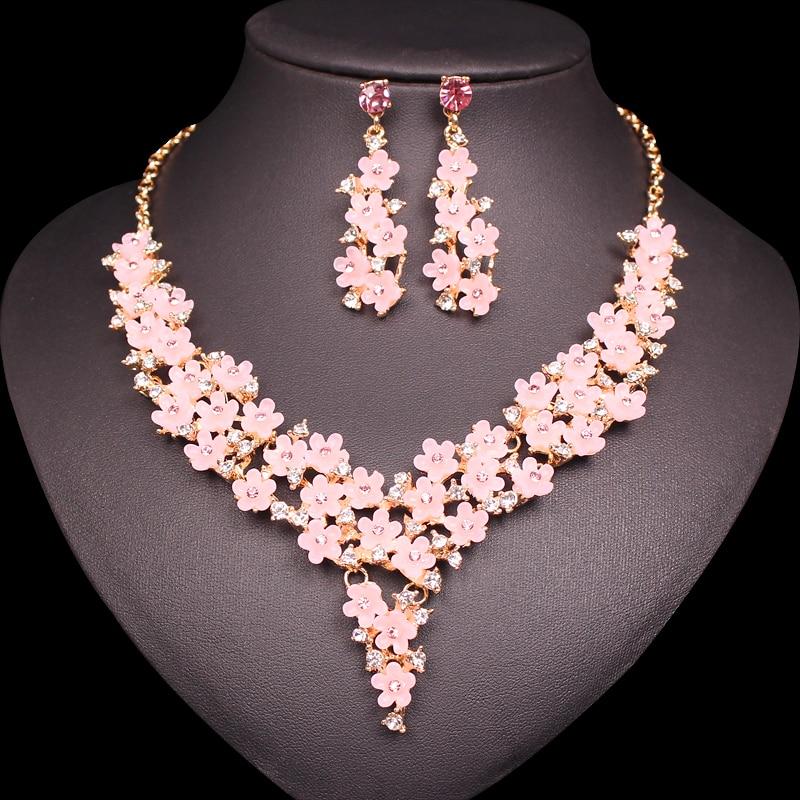 Bonito conjunto de pendientes con flores de resina color rosa, collar bohemio, pendientes a la moda con diamantes de imitación estilo bohemio, conjunto de joyería nupcial para boda, regalos para mujer