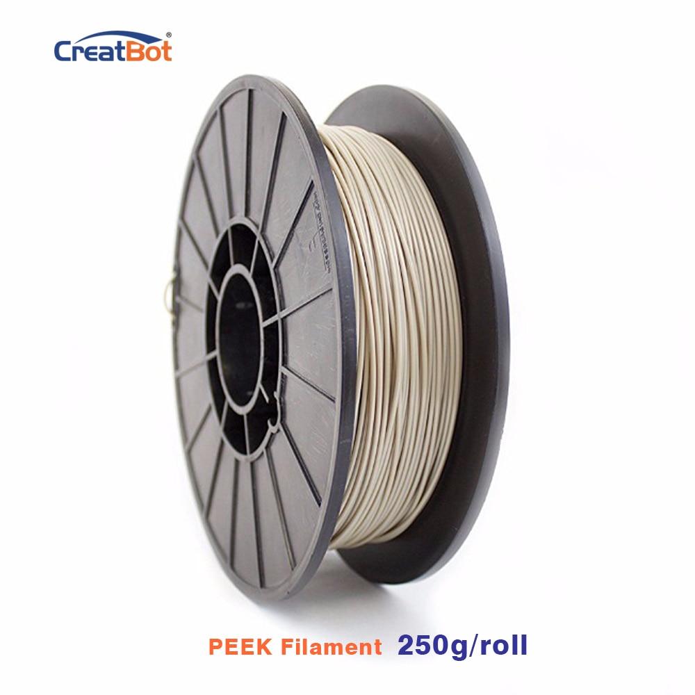 Filamento de impresora 3D CreatBot de 250g, filamento Peek de 1,75mm, filamento exótico de alta temperatura, extremadamente fuerte, envío gratis