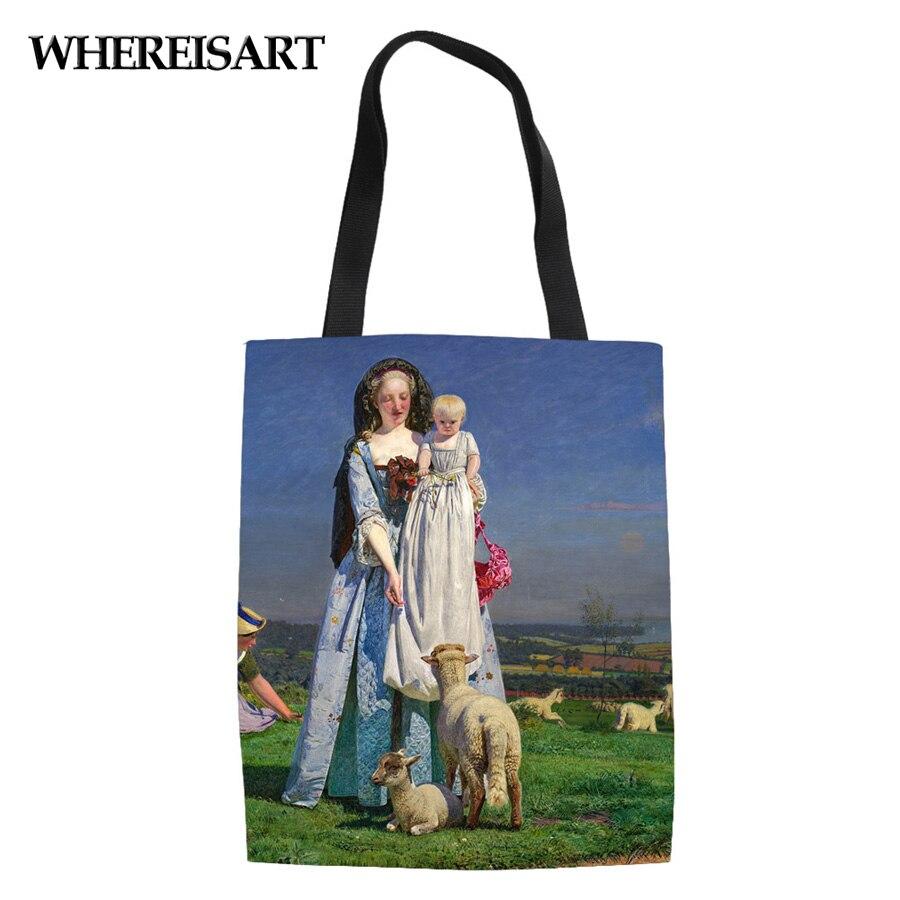 WHEREISART Заказные известные холщовые льняные сумки для покупок мягкие пляжные