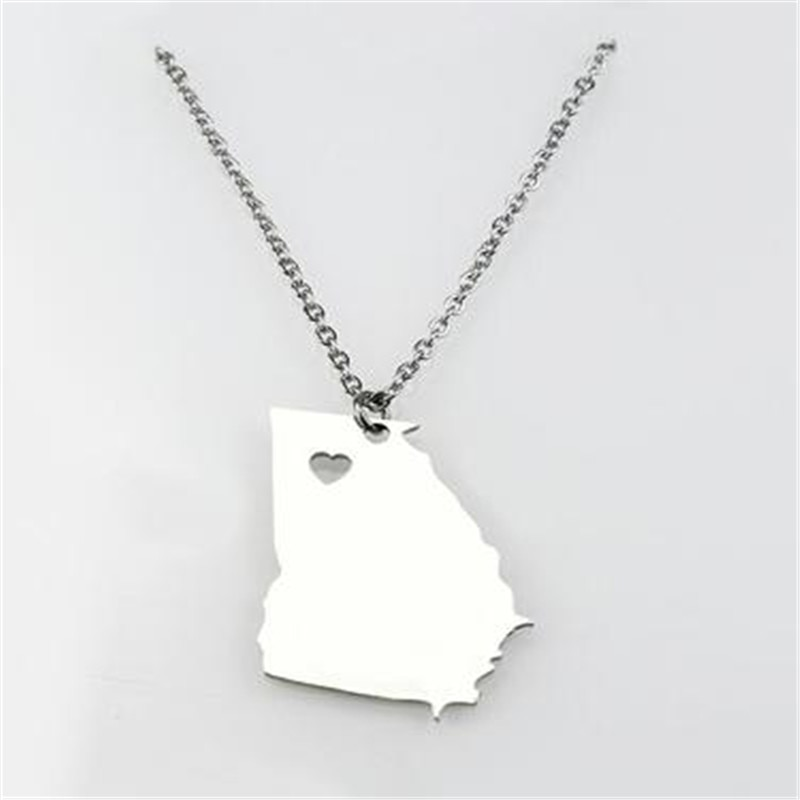 Collar de mapa de acero inoxidable minimalista elegante Nuevo Brunswick, California Nevada, China, Sudáfrica, collar con colgante de mujer de Georgia