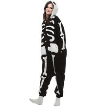 Halloween Carnaval Pasen Kigurumi Skeletschedel Cosplay Kostuum Cartoon Onesies Pajama Party Jumpsuit Kleding Voor Volwassenen