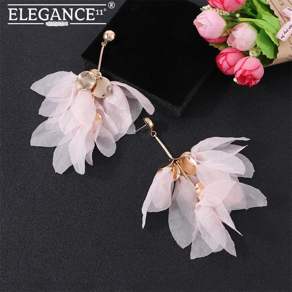 Elegance Pink Flower Dangle Drop Earring Big Yarn Floral Statement Holiday Jewelry Cute Romantic Earrings for Women Wholesale