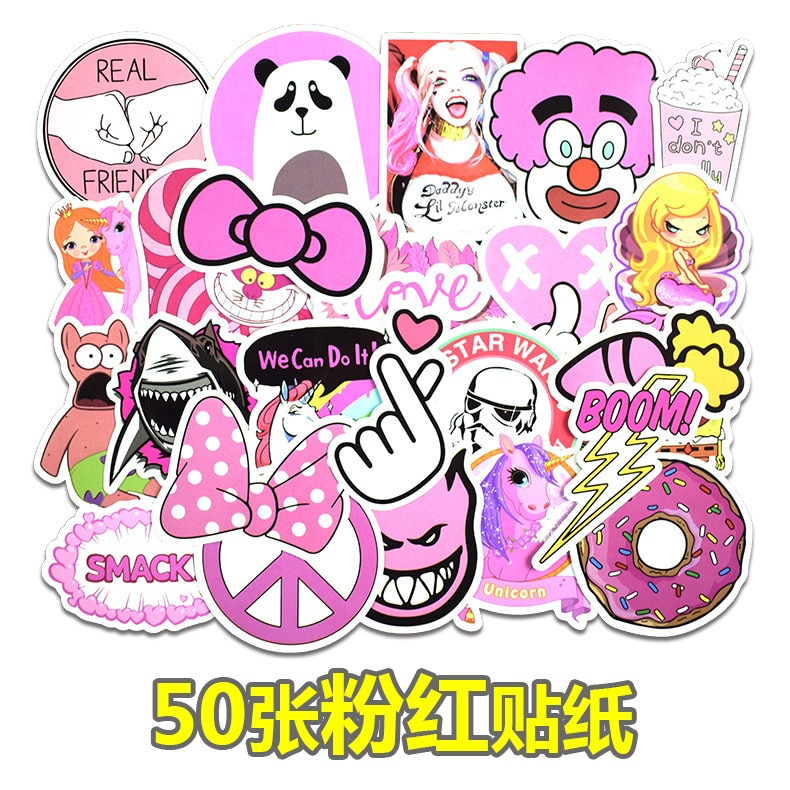 50 Uds. No repiten la etiqueta rosada de dibujos animados Doddle impermeable para equipaje coche Guaitar Skate teléfono Laptop bicicleta Moto pegatinas