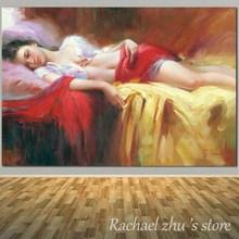 Peinture à lhuile sur toile pour filles   Figurine de haute qualité, peinture murale Sexy couleur chair pour femmes qui respirent, pour la décoration de la maison