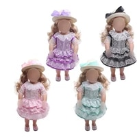 18 inch girls doll dress 4 colors princess lace dress ribbon baby toys fit 43 cm baby accessories c386