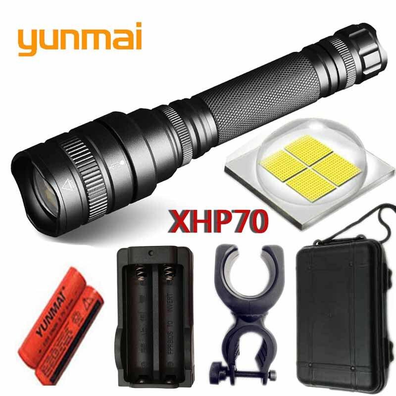 Lente yunmai 2019 chegam NOVAS comboio 30 w xlamp xhp70 xhp70.2 18650 4800lm poderosa Tactical LED flashlight torch zoom Lanterna