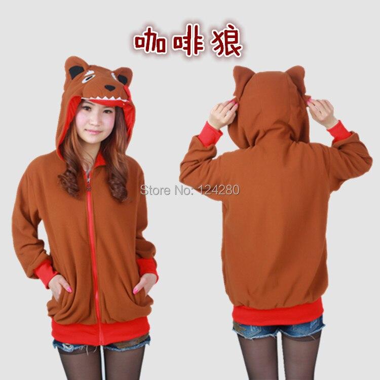 Animal Cool Wolf mujeres Sudadera con capucha chaqueta niñas sudadera invierno abrigo cálido Sudadera con capucha con orejas cola ojos