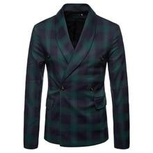 NEW Slim Fit suit Brand Blazer double button jacket male Men Fashion casual Blazers top coat Plus Size 4XL dropshipping hot sale