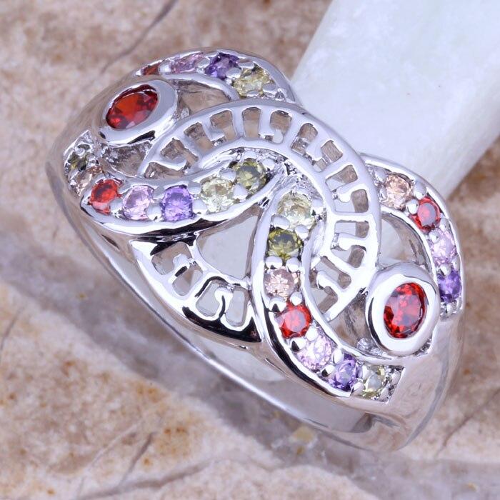 GALANT Multicolor Multigem plateado tamaño del anillo 6 / 7 / 8 E621