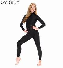 OVIGILY Spandex Dolcevita A Maniche Lunghe Footless Unitards Per Le Donne Nylon di Un Pezzo Nero Danza Unitard Body Zentai