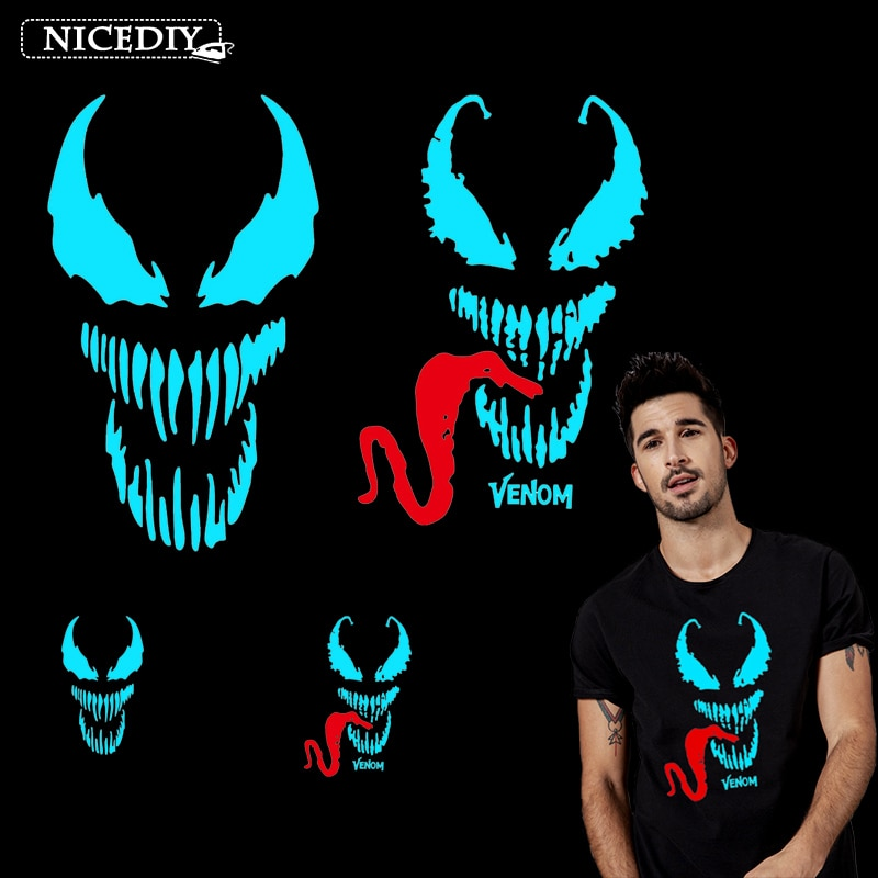 Nicediy héroe veneno marca de hierro en las transferencias para tela de la ropa de vinilo de transferencia de calor parches apliques camiseta calcomanía luminosa