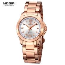 Megir-montres à Quartz analogique femmes   Montres-bracelets à la mode, en acier inoxydable, Rose or 5006LRE