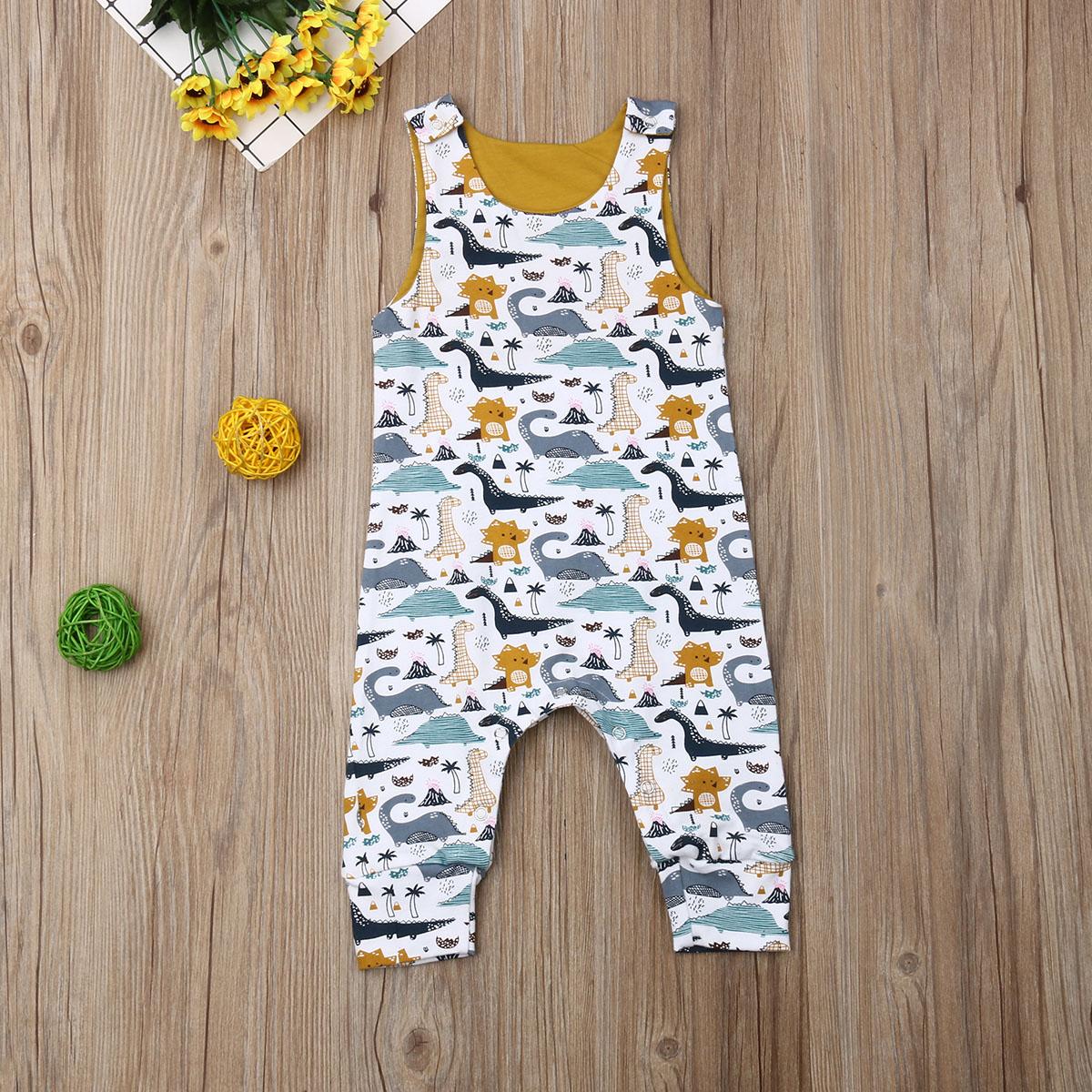 Pudcoco, ropa para bebé recién nacido de verano (niño o niña), mono sin mangas de algodón con estampado de dinosaurio bonito, traje de una pieza, Mono