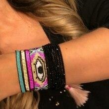 SHINUSBOHO Armband für Frauen Männer 9 Farbe Perlen Einzigen Schicht Warp Handgemachte Freundschaft Armband Einstellbar Mode Präsentieren