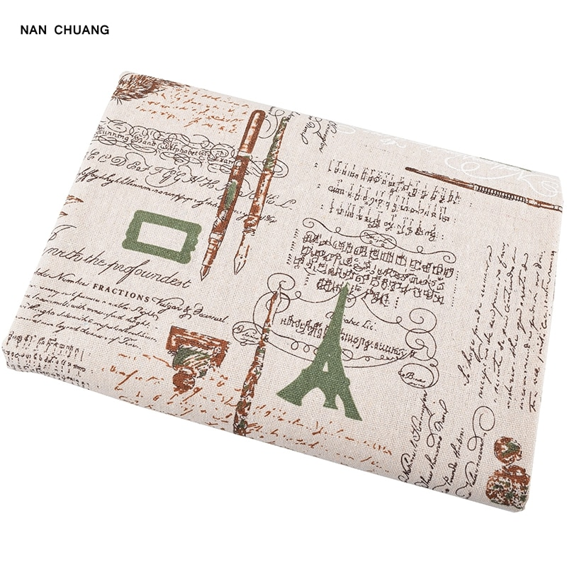 Nanchuang tower & caneta impresso algodão linho fabbric para diy saco sofá mesa pano cortina artesanato artesanal material de costura 50x150cm