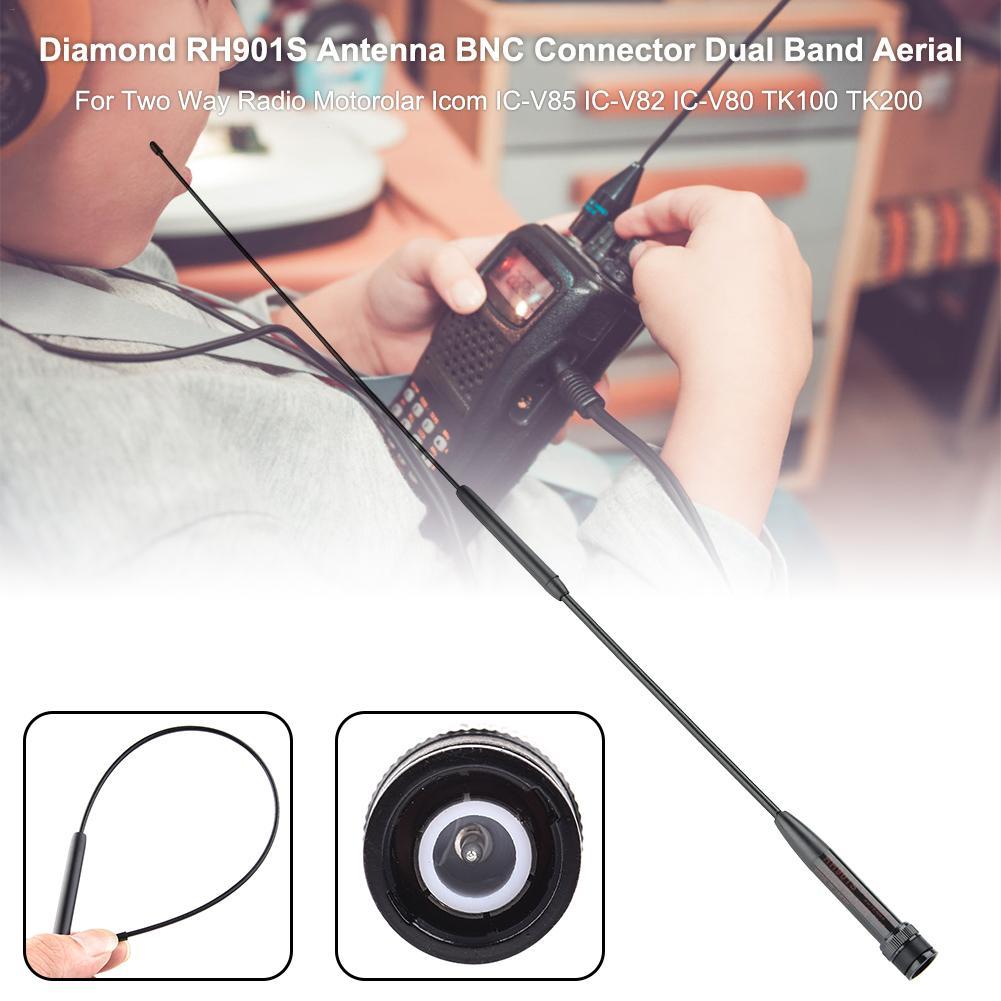 Mano de banda Dual Antena de RH-901S conector BNC para radio de dos vías Motorolar Icom IC-V85 IC-V82 IC-V80 TK100 TK200