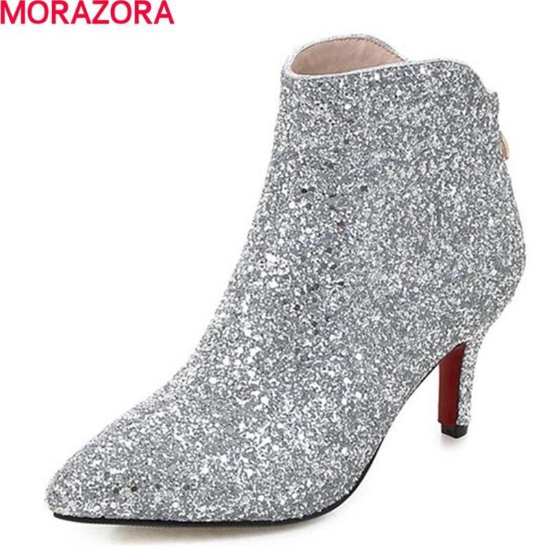MORAZORA, primavera Otoño, zapatos de fiesta de boda, botines de mujer, tela con lentejuelas, Punta puntiaguda, botas elegantes y nobles para mujer
