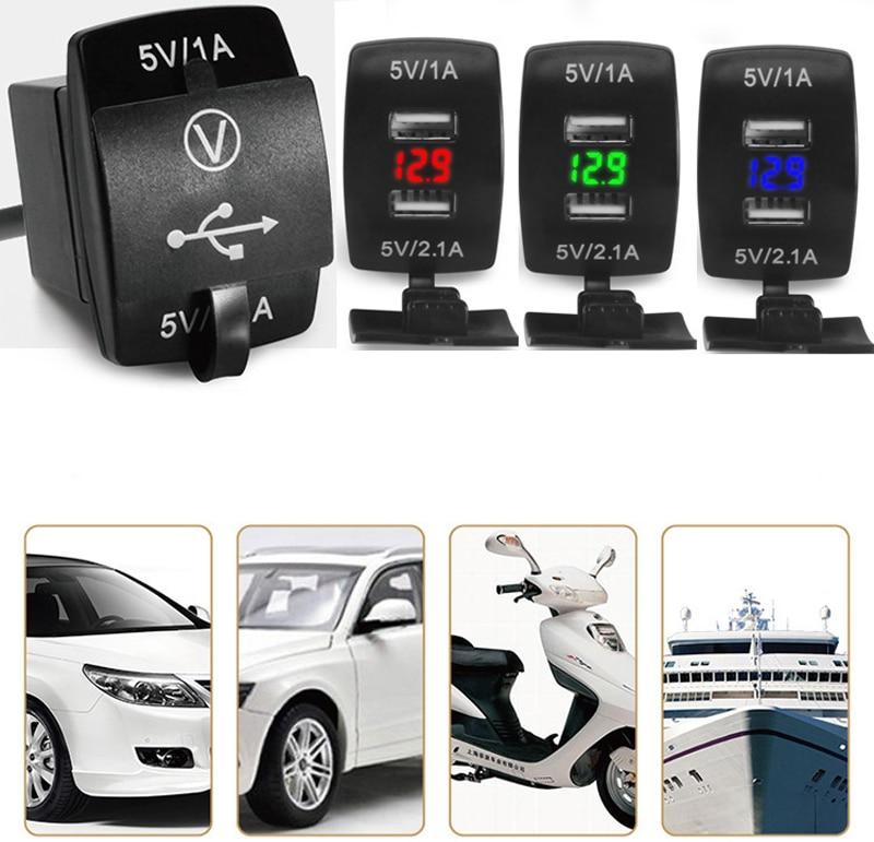 12V/24V 3.1A coche motocicleta Dual USB LED cargador enchufe voltaje voltímetro Panel JUN15 dropship