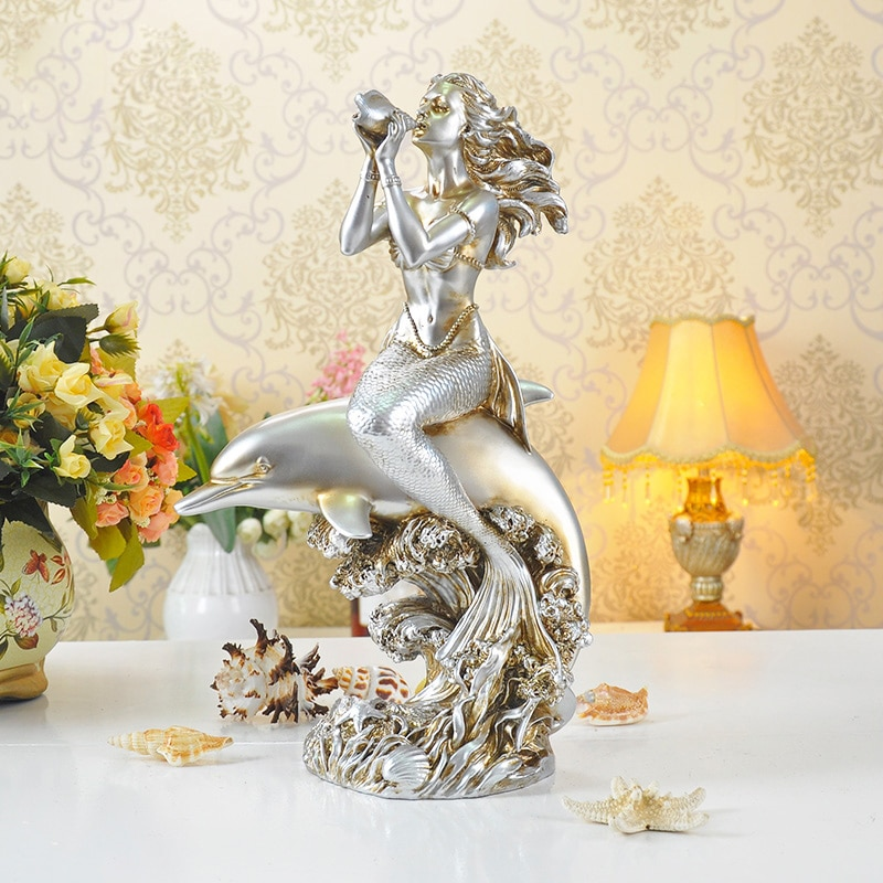 Nórdico decoración del hogar resina sirena estatua Sala decoración artesanía figuras escritorio ornamentos para regalo de bodas de