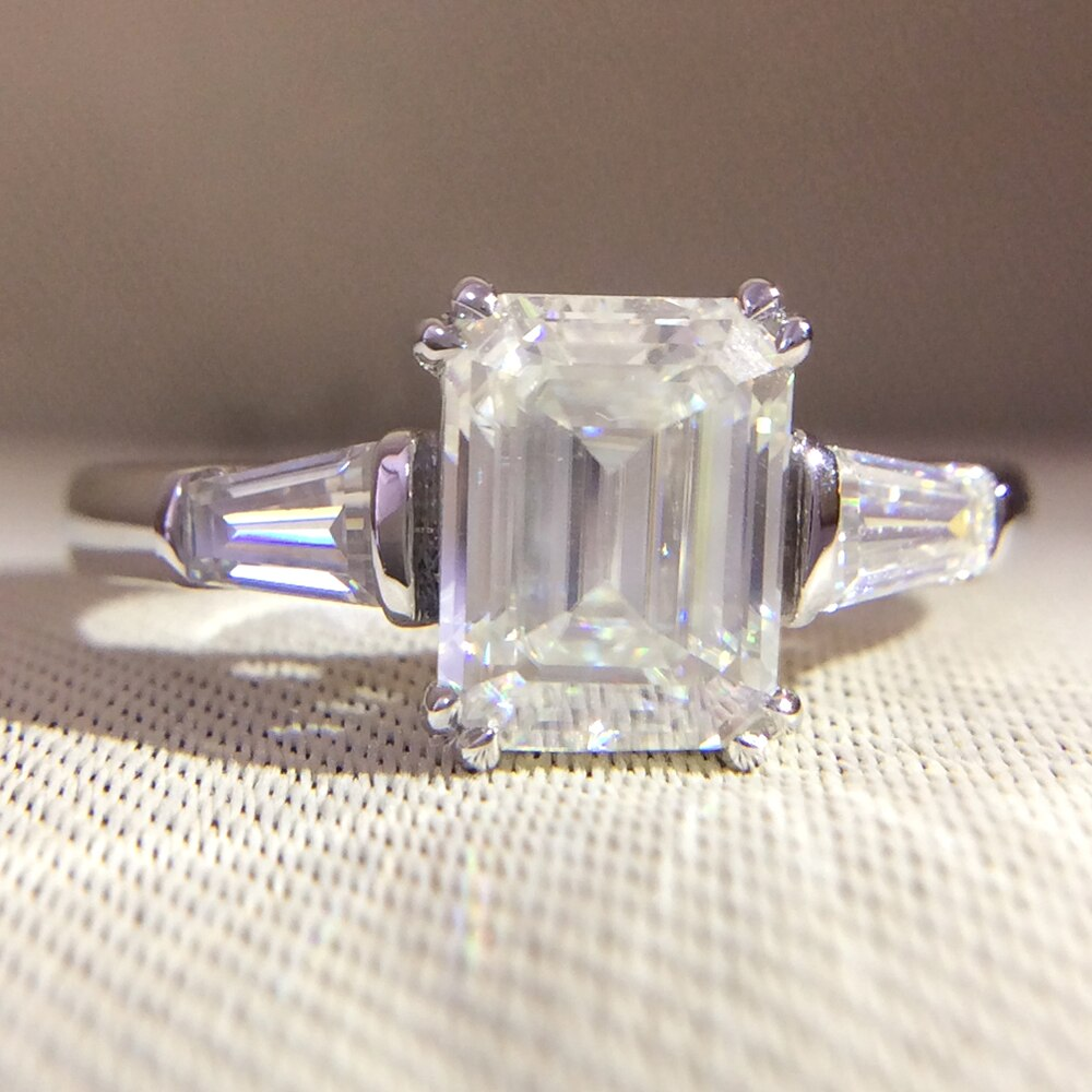 K Ouro Branco Esmeralda Carat 4 14 8x10mm DF Baguette Moissanite Halo do Anel de Noivado Solitário De Diamante De Laboratório vestido de casamento para As Mulheres