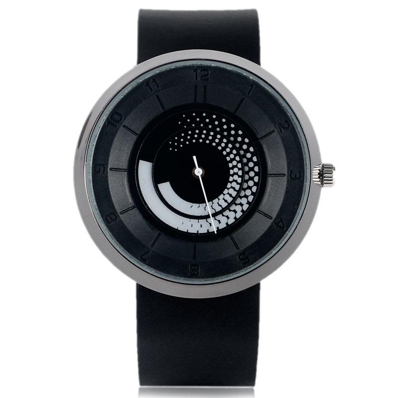 Breve espiral rotación de moda estudiante moderno caliente Simple esfera redonda creativo cuarzo mujeres hombres correa de goma reloj de pulsera