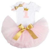 1 Year Girl Birthday Dress Romper Tutu Dress Headband Girl Toddler Kids Baptism Gown 1st First Birthday Outfits Baby Dress
