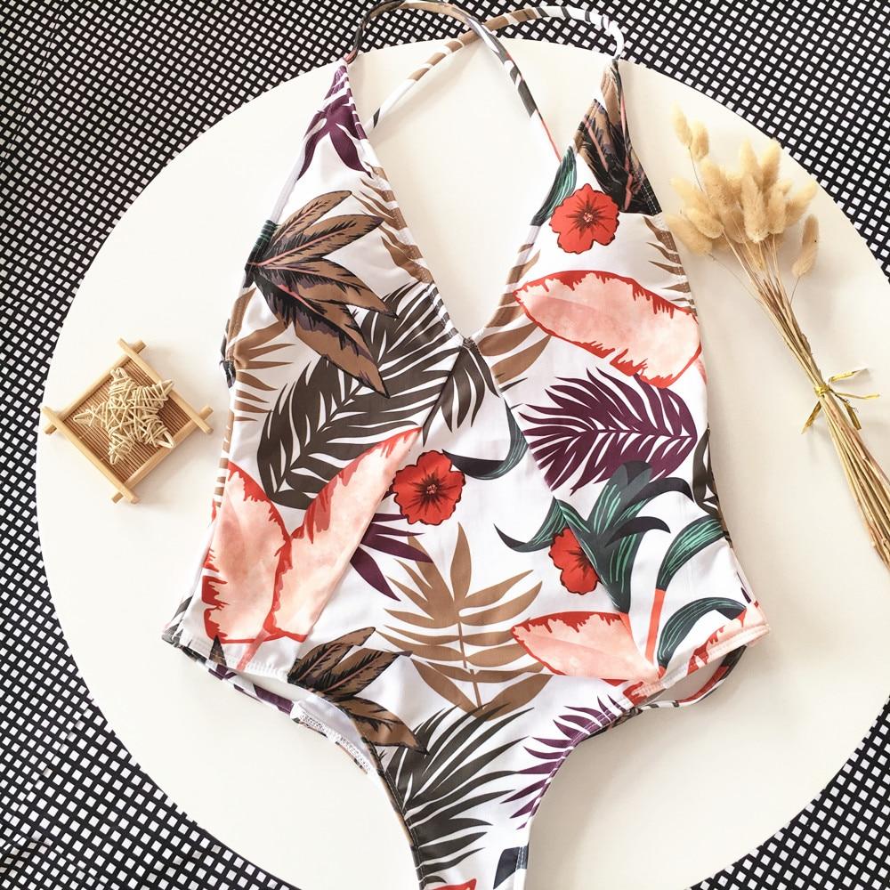 Sexy Deep V Neck Swimwear Women Print Backless Bandage Cut Out Monokini Badpak One Piece Swimsuit Women Bathing Suit 2019