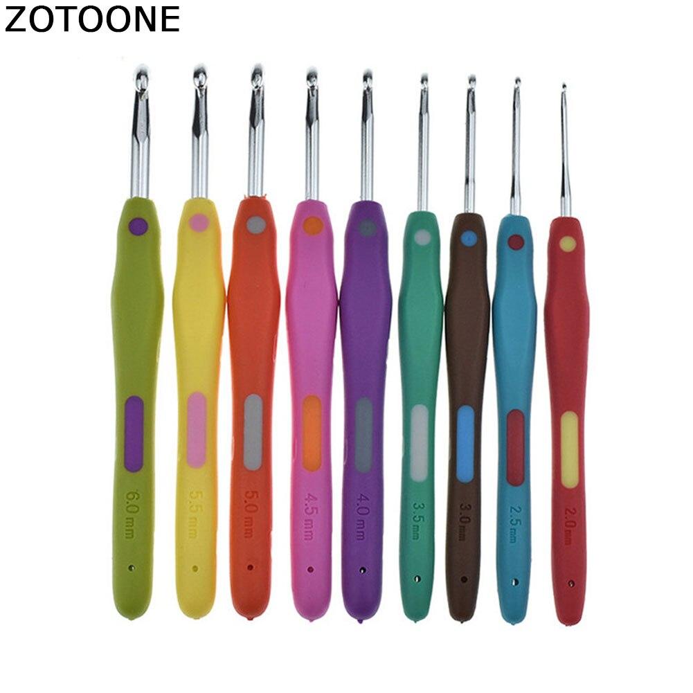 ZOTOONE 9 Uds coser a mano agujas tipo gancho de Crochet para tejer DIY colorido agujas conjunto de ganchos accesorios de costura con bolsa