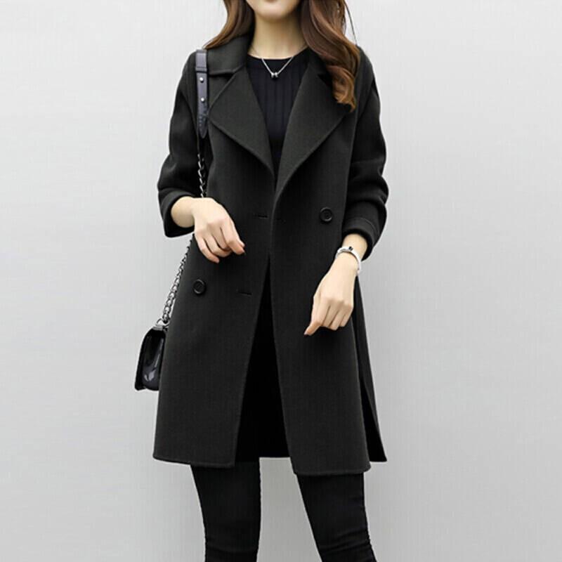 Lucyever, abrigo de lana larga para Mujer, chaqueta abrigada de mezcla de otoño e Invierno, gabardina femenina de doble botonadura delgada coreana, Invierno para Mujer