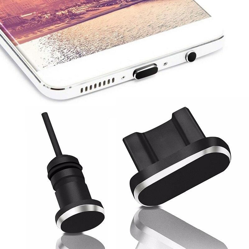 Puerto de carga Micro USB de enchufe de polvo de Metal + Puerto de auriculares para teléfono móvil Android 3,5mm Jack tapón para auricular recuperar Pin de tarjeta